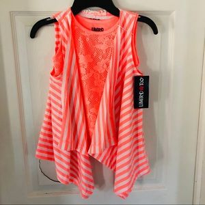 NWT LIMITED TOO neon orange striped 2 piece top 4